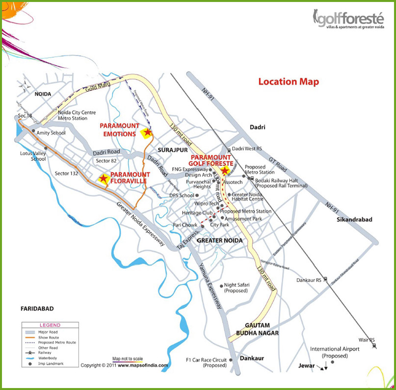 Golf foreste location map